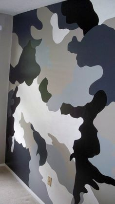teen boys bedroom blue camo accent wall - Google Search