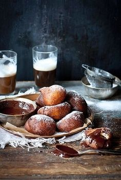 Orange ricotta doughnuts with chocolate dipping sauce