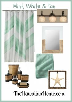 Beachy Mint Green Bathroom Decor Accessories