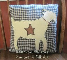 Wool Applique Pillow Goat Pillow Animal by RavenwoodWhimzies- not available; idea only- #babygoatfarm