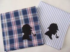 "Sherlock Holmes Handkerchiefs 2 SilkScreened by TheHoneyPress. What says ""Josh"" more than this?"