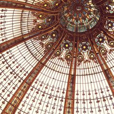 Paris Photography, Art Nouveau Stained Glass, Autumn Colors, Galeries Lafayette - Splendor in the Glass. $30.00, via Etsy.