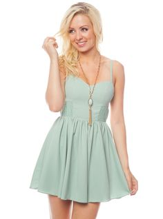 Mint Grey Spaghetti Strap Dress W/ Smocked Waist😍 Mint-grey spaghetti strap skater dress with full skirt, sweetheart neckline, and smocked waist. Wear with sunglasses and sandals for an all-day summer look. Spaghetti Strap Dresses, Clothing Company, Buy Dress, Summer Looks, Wholesale Clothing, Fashion Tips, Fashion Design, Fashion Trends, Summer Dresses