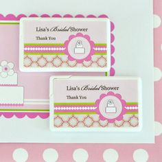 Personalized Mini Mint Favors - Pink Cake created by Event Blossom. Edible Wedding Favors, Personalized Wedding Favors, Bridal Shower Favors, Party Favors, Themed Parties, Party Themes, Mint Party, Lollipops, Creative Cards