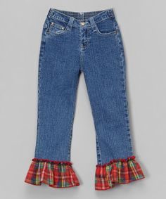 This Red Plaid Ruffle Jeans - Toddler & Girls by Beary Basics is perfect! #zulilyfinds