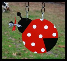 Metal Lady Bug for Garden Flag or Wall Deco by PolkADotYardWallArt