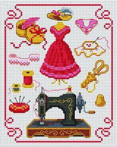 cross-stitch pattern on sewing