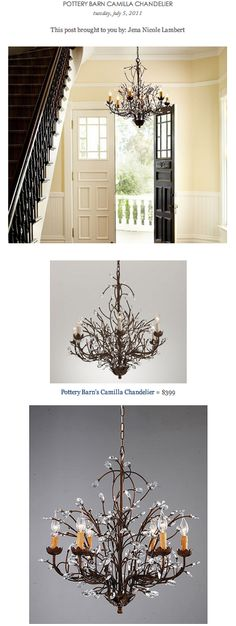 COPY CAT CHIC FIND: Pottery Barn's Camilla Chandelier VS Overstock's Antique Bronze 6-Light Crystal and Iron Chandelier