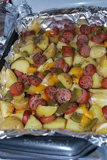 Chicago Foodie Sisters: Smoked sausage and potato bake. This was a easy simple receipt. Family approved. I used red skins and turkey smoked sausage instead. ~ Melissa