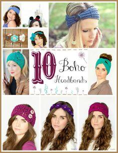 10 Free Beautiful Boho Headband Crochet Patterns via Hopeful Honey