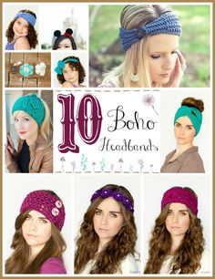 10 Free Beautiful Boho Headband Crochet Patterns via Hopeful Honey