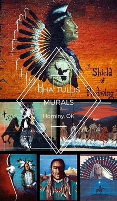 Hominy is home to many beautiful works of public art by Native American artist Cha' Tullis.  Click on this pin for a map of their locations!