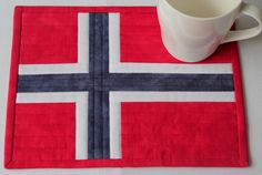 Norwegian Flag Mug Rug - Quilted Mug Rug - Red White Blue Mug Rug - Patriotic May Mug Rug - Norwegian National Day Small Quilts, Mini Quilts, Appliqué Quilts, Norwegian Flag, Table Runner And Placemats, Table Runners, Flag Quilt, Fabric Postcards, Hexagon Quilt