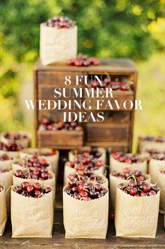 Want to thank your guests for coming in full on summer style? These gift ideas will make you look effortlessly cool at your warm weather celebration. http://www.colincowieweddings.com/articles/ideas-how-tos/8-fun-summer-wedding-favor-ideas