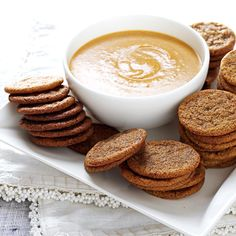 Spice Cookies with Pumpkin Dip Recipe -My husband and two kids are sure to eat the first dozen of these cookies, warm from the oven, before the next tray is even done. A co-worker gave me the recipe for the pumpkin dip, which everyone loves with the cookies. —Kelly McNeal, Derby, Kansas