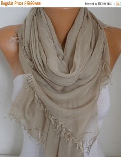 Beige Cotton Scarf Fall Scarf Shawl Soft Oversized by fatwoman
