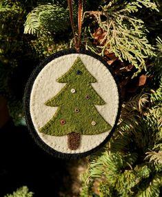christmas tree pillow with buttons | Christmas Tree Handmade Wool Felt Ornament by nanaandcompany