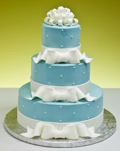 Blue Wedding Bows Cake by Jacques Fine European Pastries