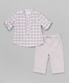 Another great find on #zulily! Gray & White Roll-Tab Polo & Pants - Infant #zulilyfinds