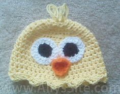 Free Crochet Baby Chick Hat Pattern.
