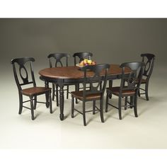 A America British Isles 7 Piece Leg Dining Room Set In Oak And Black