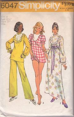 Simplicity 6047 Vintage 70's Sewing Pattern Mod Babydoll Pajamas, Puff Sleeve Micro Mini Dress, Blouse, Panties, Nightgown, Maxi Gown