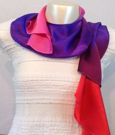 Stunning Hand Made 100% Pure Silk Satin Twirl Scarf in Summer Palette . See more at www.truecolourfashion.co.uk