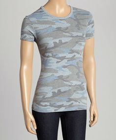 This Blue Camo Crewneck Tee is perfect! #zulilyfinds