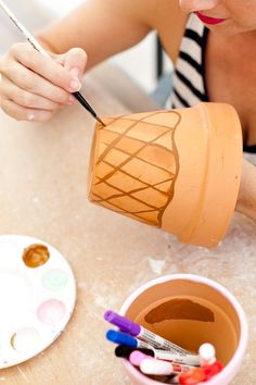 These Waffle Cone Ice Cream Painted Flower Pots will totally satisfy that DIY sweet tooth and they dont take long to craft either! Perfect for an ice cream party summer decor ice cream social and more. - Ice Cream Scoop - Ideas of Ice Cream Scoop Ice Cream Crafts, Diy Ice Cream, Best Ice Cream, Ice Cream Cone Craft, Ice Cream Flower, Kids Crafts, Ice Cream Painting, Sundae Party, Ice Cream Theme