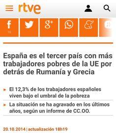 España 2012:tercer pais EU con mas Trabajadores Pobres #WorkingPoor