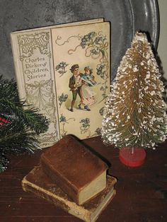 Vintage Christmas Bottlebrush tree and Charles Dickens Book...