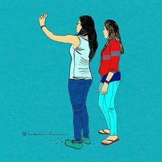 Girls taking selfie at Lavasa #selfie #wacom #bamboo #sketch #illustration