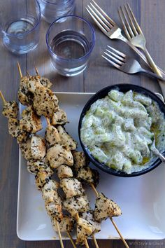 Chicken Skewers & Tzatziki Sauce   With Style & Grace