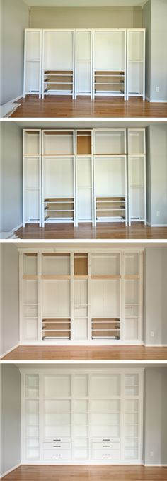 ikea hack diy built in bookcase with hemnes furniture studio 36 interiors - PIPicStats Billy Ikea, Diy Casa, Built In Bookcase, Ikea Hack Bookcase, Bookshelves Ikea, Bookshelf Ideas, Build In Bookshelves, Living Room With Bookshelves, Ikea Hack Desk