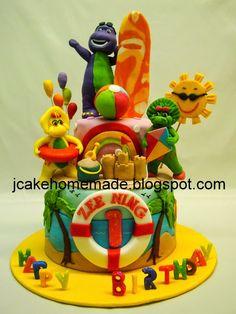 Barney birthday cake for Zee Ning 1st birthday