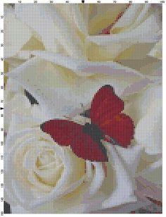 Cross Stitch Pattern Red Butterfly and by theelegantstitchery