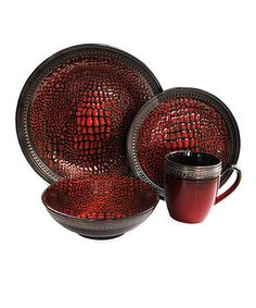 Look at this #zulilyfind! Red Serrano 16-Piece Dinnerware Set by Jay Import #zulilyfinds