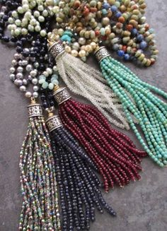 Luxe silver pearl tassel necklace Rainbow Sway от slashKnots