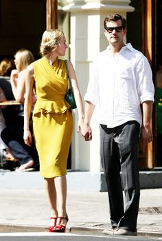 mustard dress and red shoes