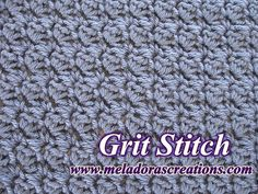 Crochet Stitches Free Crochet pattern that teaches you how to crochet this simple textured stitch called The Grit Stitch. - Free Crochet pattern that teaches you how to crochet this simple textured stitch called The Grit Stitch. Puff Stitch Crochet, Tunisian Crochet Stitches, Crochet Stitches Patterns, Stitch Patterns, Crochet Crafts, Easy Crochet, Free Crochet, Knit Crochet, Crochet Basics