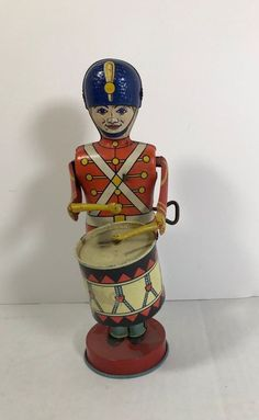 Vintage J. Chein Lithographed Tin Wind-Up Drummer Toy  #JCheinCompany