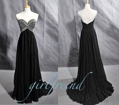 Elegant strapless floor-length beading chiffon Prom Dresses / Evening Dress