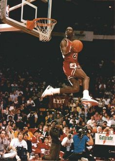 """Michael Jordan wearing his iconic """"Cement"""" Air Jordan III's on his way to a second Slam Dunk Champion title in 1988"""