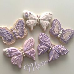 Sweet Butterfly Love, lavender butterfly cookies in royal icing by sweetvintique, posted on Cookie Connection