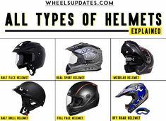 There are total 6 types of helmets that you can buy in India. Full Face Helmet, HalfFace Helmet, Modular Helmet, Half Shell Helmet, Off-Road Helmets, Dual Sport Helmets Dual Sport Helmet, Sports Helmet, Skull Helmet, New Helmet, Riding Gear, Trail Riding, Isi Mark, Shoei Helmets, Off Road Helmets
