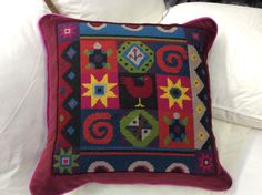 Jolly Red African Tiles needlepoint. Pillow Texture, Starter Kit, Needlepoint, Patches, Cross Stitch, Cushions, African, Throw Pillows, Blanket