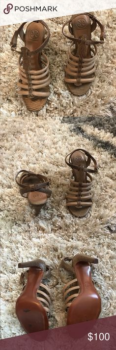 Tory Burch brown and tan strappy heel Tory Burch brown and tan alligator like print strappy heel. New without tags. Never worn but some peeling of bottom of shoe from peeling sticker off. Shown in picture! Size 7 👠❤️ Tory Burch Shoes Heels