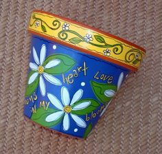 Flower Pot 6 Inch- Love Blooms- Made to Order. $25.00, via Etsy.