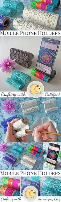 DIY Mobile Phone Holders out of Clay - Hattifant Hattifant's DIY Clay Mobile Cell Phone Holders Polymer Clay Kunst, Polymer Clay Projects, Polymer Clay Creations, Diy Clay, Kids Crafts, Clay Projects For Kids, Craft Projects, Crafts Cheap, Simple Crafts