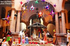 Christmas in Mexico - Nativity and piñatas  at Municipal Palace in San Luis Potosì.